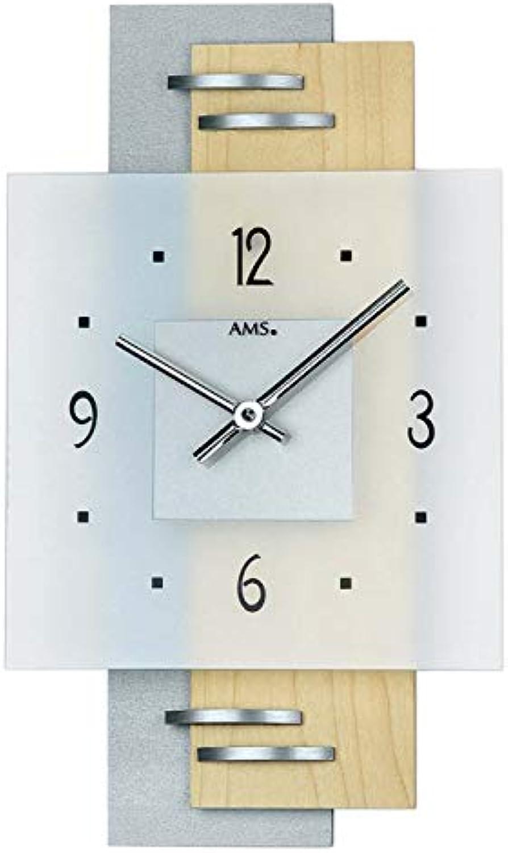 AMS Quarz-Wanduhr, Holz, Mehrfarbig, 35 x 35 x 12 cm