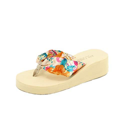Happyyyami Flip-Flop-Sandalen mit Keilabsatz, für Damen, mit Plateausohle, Strandschuhe, Bohemian-Schuhe, Beige - beige - Größe: 35 EU