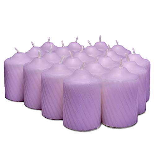 Lavender Scented Votive Candles - 15 Hour Long Burn Time - Textured Finish - Box of 20