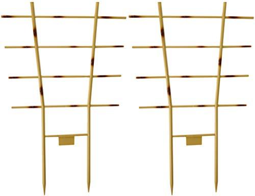 Novatool 2X Blumengitter Bambus I 52 x 32 cm I Kunststoff I Braun I Pflanzengitter Wand Rankgitter Rankhilfe Pflanzen Stütze Blumenstütze