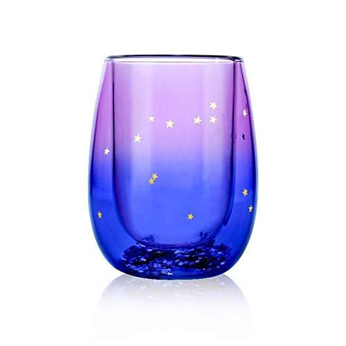Yodensity Creative Starry Sky - Taza de cristal de doble pared para café, café y café con leche, resistente al calor