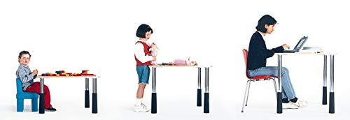 Gedotec meubelpoten cilindrisch wit tafelpoten in hoogte verstelbaar metalen - model H1722 | hoogte 580 mm | manchetten: rood | verstelbare poten voor kinder- en jeugdtafels | 1 stuk