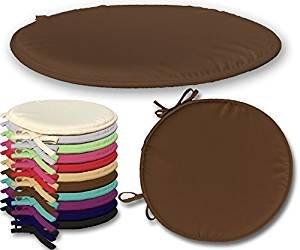 EGYPTO Set of 4 Round Seat Pad Cushions with Ties Chair, Chocolate Brown (Chocolate Brown)
