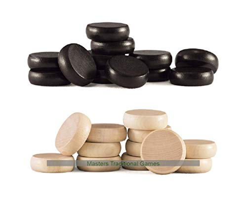 Masters Traditional Games Set of Crokinole disks (12 Black, 12 Natural Wood Plus 2 spares)