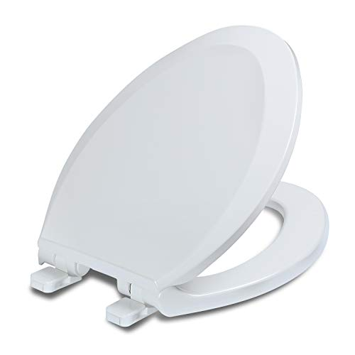 Elongated Toilet Seat with Lid, Quiet Close, Fits Standard Elongated or Oblong Toilets, Slow Close Seat and Cover, Oval, White