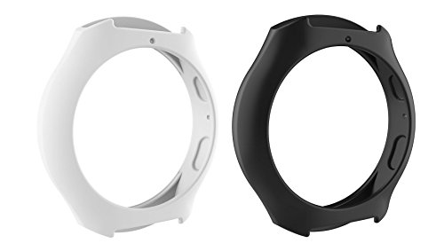 Chofit Gear S2 Band Case Cover (2-pack,3-pack,5pack)Shockproof Silicone Accessories Protective Band Case Cover for Samsung Gear S2 ( SM-R720 / SM-R730 )Smart watch (Black&White)