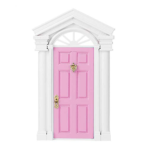【 】Excelente decoración Mini puerta de casa de muñecas, puerta de casa de muñecas, líneas finas, laca lisa para niños, bricolaje(Pink)