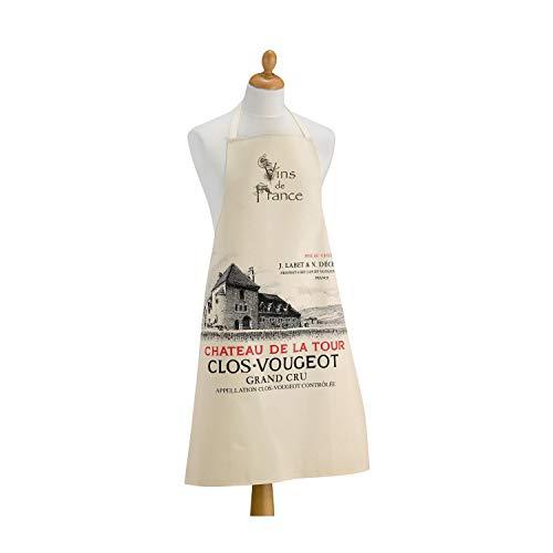 Winkler - Tablier de cuisine - Tablier de cuisine réglable - Tablier pour la cuisine - Tablier barbecue - Tablier 100% Coton - 72 x 96 - Ecru - Bourgogne - Clos Vougeot