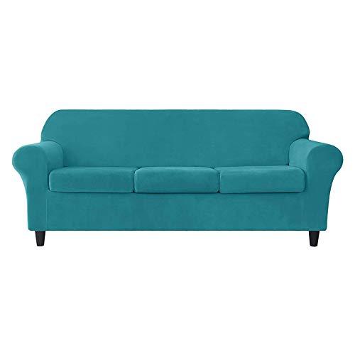 HUANXA Terciopelo Elástica Funda De Sofá, Suave Funda para Sofá Antideslizante Funda Cubre Sofá Protector De Muebles para 2 3 Plazas Funda Cubre Sofá-11#Azul Turquesa-3 plazas