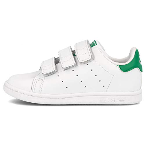adidas Originals Baby Girls Stan Smith Cloudfoam Sneaker, Footwear White/White/Green, 6 Infant