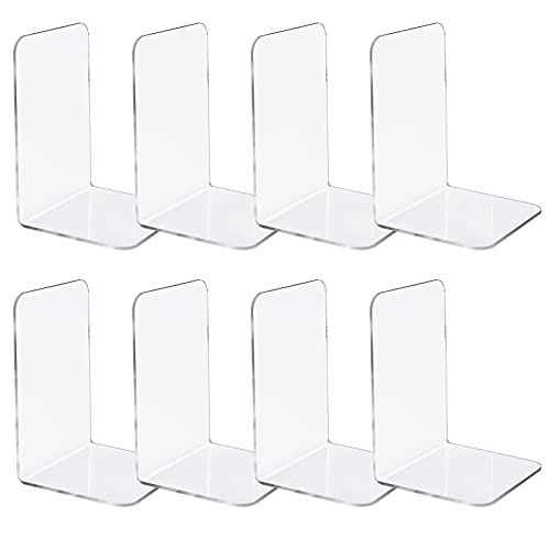 Jekkis 8pcs Bookends, Clear Acrylic Bookends for Shelves, Plastic Bookends for Home Office Library,...