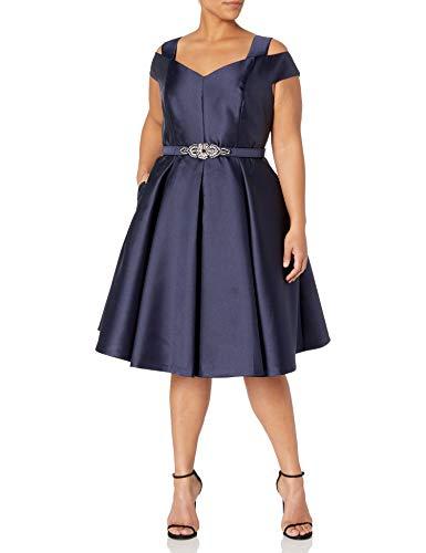 Eliza J Women's Plus Size Shoulder Flared Dress, Navy, 16W