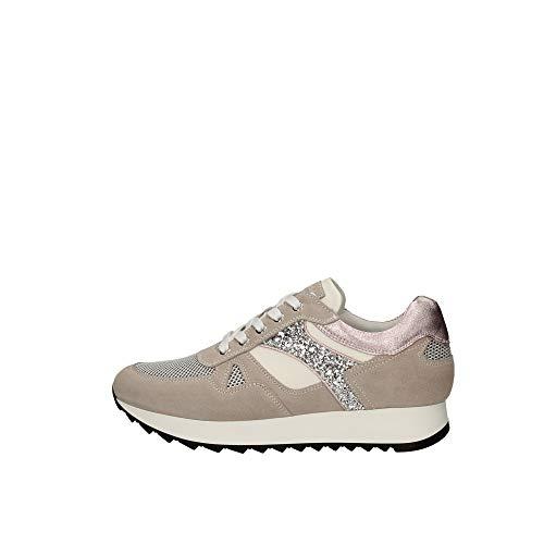 Nero Giardini E010520D Sneakers Donna in Pelle, Camoscio E Tela - Nuvola 38 EU