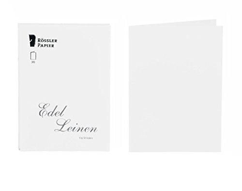 Rössler 2160705002 - Edel Leinen - Doppelkarten-Pack A6, 20 Stück, weiß