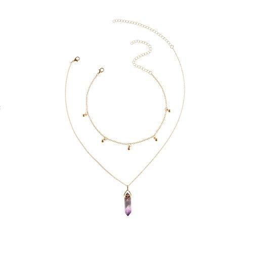 Daesar Collares Mujer Multiples Caps Prisma Cadena Multicapas Collar Chapado en Oro Collar de Mujer Oro