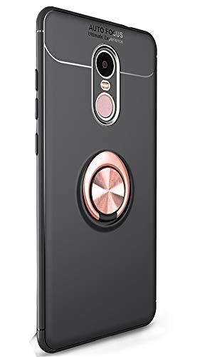 Tianqin Xiaomi Redmi Note4X Funda, Ultra Delgado Ligero TPU Suave Anti Caída Protección Sigilo Anillo Hebilla Compatible con Montaje Magnético del Coche per Xiaomi Redmi Note4X (Negro Oro)