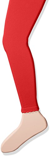 Jefferies Socks Girls' Little Cotton Footless Tights with Scalloped Edge, Red, 24-48 Months