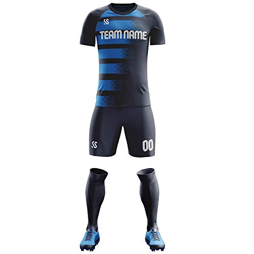 Custom Soccer Jersey Sublimated Print Personalized Name Number Logo Team Men Football Jerseys Gradient Uniform (Dark Blue, M-Men)