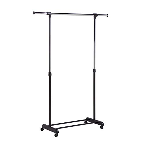 Honey-Can-Do Height-Adjustable Rolling Garment Rack with Expandable Bar and Shoe Shelf, Chrome, 30 lbs