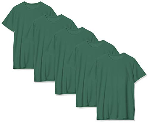 KUSTOM KIT Regular Fit Wicking tee 5 Pack Camiseta, Verde (Bottle Green BGR), X-Large (Talla del Fabricante: XLG) para Hombre