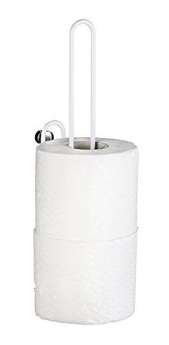 WENKO Ersatzrollenhalter Classic Plus - WC-Ersatzpapierrollenhalter für 3 Rollen mit hochwertigem Rostschutz, Stahl, 3.5 x 33 x 13 cm, Weiß