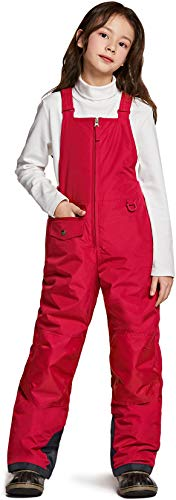 TSLA Kids & Boys and Girls Winter Snow Bibs, Waterproof Insulated Snowboard Overalls, Windproof Ripstop Ski Pants, Snow Overall(kko75) - Red, Small