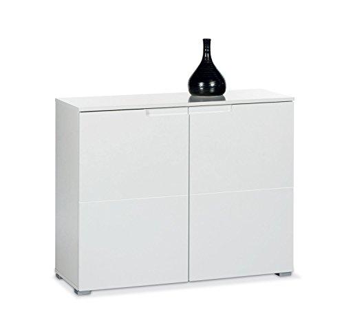Kommode, Weiß Hochglanz, 2 Türen, 100x80x40 cm