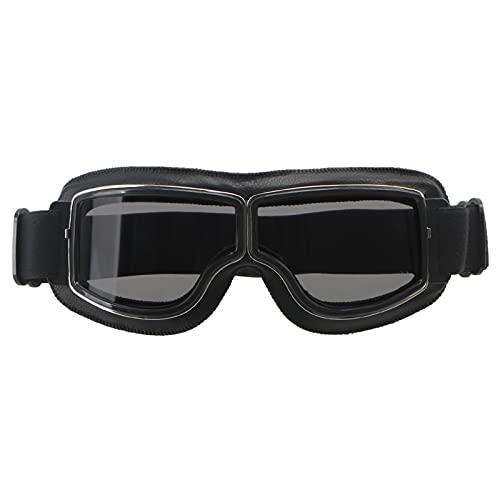 LHSJYG Gafas De Moto Motocicleta universal Gafas Vintage Gafas Piloto Moto Scooter Bigeres Gafas Gafas para Casco Moto Gafas Motocross (Color : Black lens)