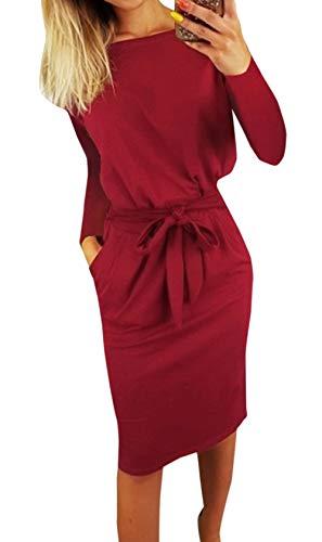 Ajpguot Damen Freizeit Kleid mit Gürtel Elegant Rundhals Midi Kleider Blusenkleider Ballkleid Festkleid Frauen Langarm Tasche Wickelkleider Abendkleider Partykleid, Rotwein, L