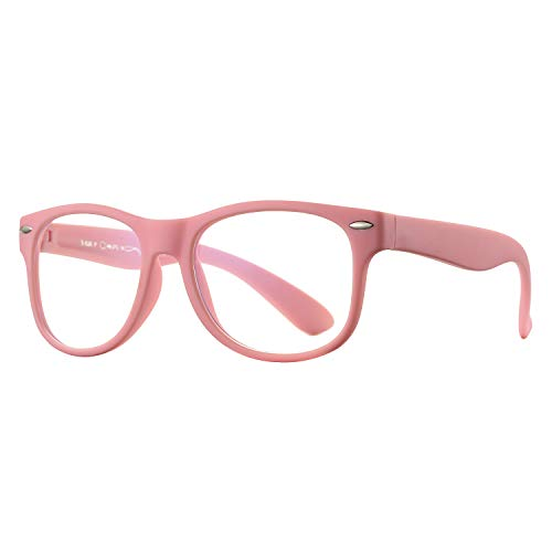 Blue Light Blocking Glasses for Kids - Boys & Girls Unbreakable Frame (3 -12 Years) (Pink)