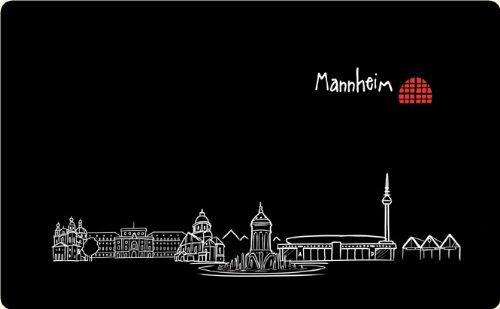 die stadtmeister Frühstücksbrettchen Skyline Mannheim - als Geschenk für echte Monnemer & Mannheim-Fans oder als Mannheim Souvenir
