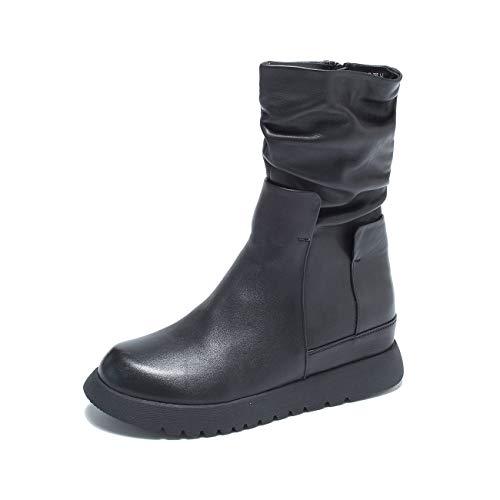 [ZUYEE] (ズイェ) レディース ショートブーツ 本革 サイドジップ 厚底 インヒール 歩きやすい カジュアル ブラック 24.5cm