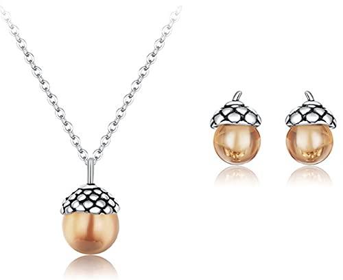 CHXISHOP 925 plata esterlina de dos piezas joyería pendientes collar moda joyería conjunto