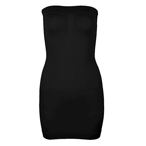 Freebily Damen Figurformendes Miederkleid Trägerlos Bauchweg Unterkleid Body Shaper stark Formende Unterwäsche Formwäsche Schwarz S/M