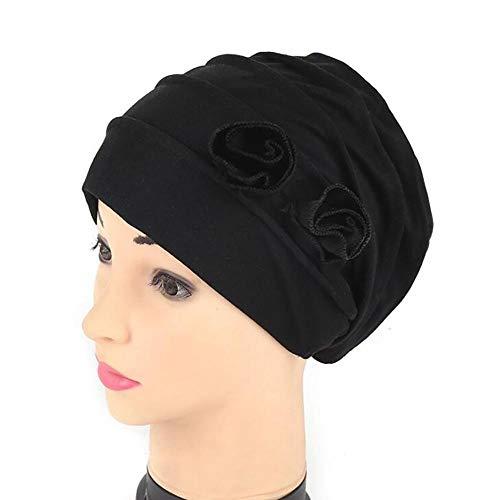 Bandanas Wrap Cap Adult Stretchable Vrouwen Bloem Indian Stretch Turban Hoed Chemo Cap Haar Sjaal Hoofddoek Hoofdka Sport top hoed Zwart