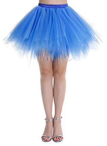 Dressystar LXQC Petticoats Minirock Kurz Unterrock Tutu Unregelmäßig Tüll Damen Mädchen Ballettrock Multi-Schichten Royalblau L