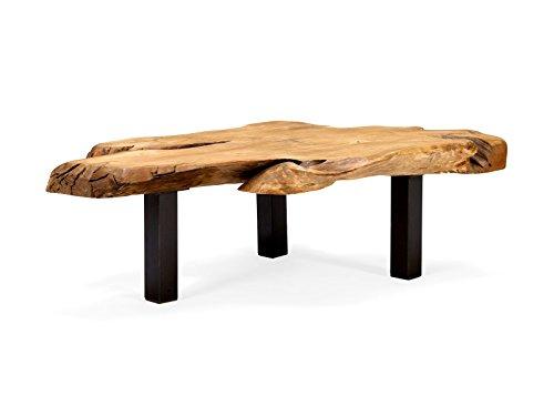 massivum Couchtisch Tenaga 110x60 cm Teak-Holz massiv natur mit Metall-Gestell schwarz lackiert