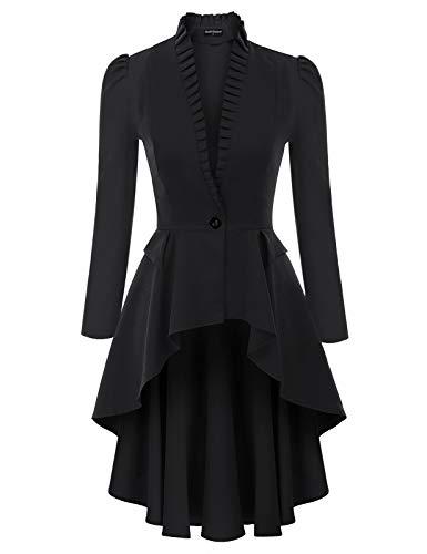 SCARLET DARKNESS Retro Jacken Steampunk Gothic Long Coat Mäntel für Damen Warm Winter Festlich Weihnachten Smoking Kleidung Schwarz XXL