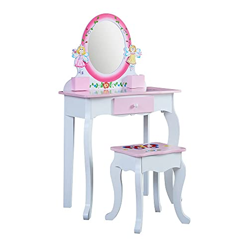 WODENY Tocador infantil de madera, tocador para niñas, con taburete, espejo, con cajones, color rosa