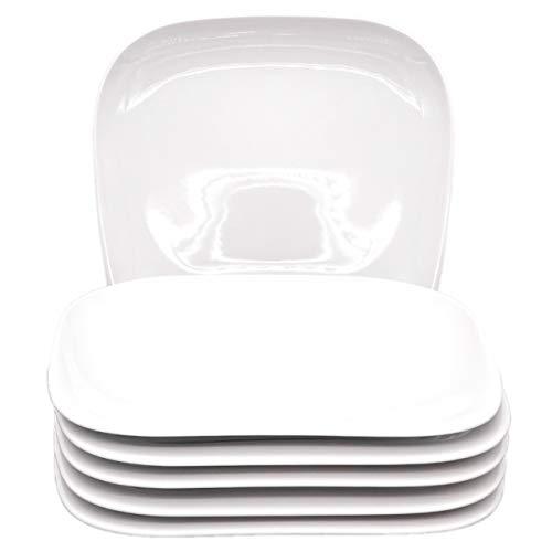Kahla 15G110A90015C Elixyr Geschirr XXL Tellerset Porzellan Teller 6-teilig Speiseteller für 6 Personen flach Teller eckig weiß Essteller ohne Dekor