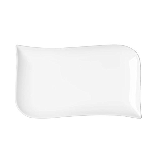 TABLE ET PASSION - 276071 - LOT DE 6 ASSIETTES RECTANGULAIRES EN PORCELAINE BLANCHE 20X 12 CM MELODY
