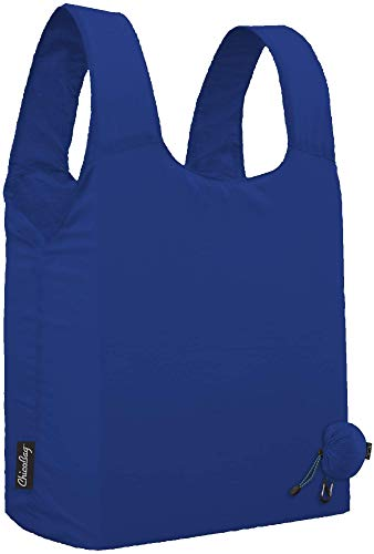 ChicoBag Micro Compact Reusable Grocery Bag with Attached Pouch and Carabiner Clip, Skydiver Blue