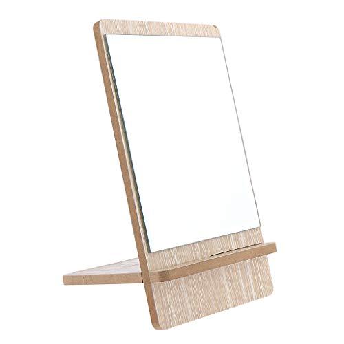 dailymall Professionelle Badezimmer Make Up & Rasierspiegel Retro Standspiegel Durable - Braun + Silber, Groß
