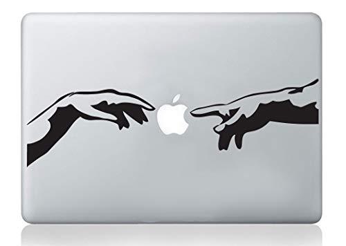 Autocollant pour ordinateur portable Laptop Michelangelo Création d'Adam mains italiennes mac autocollant apple macbook ordinateur portable décalque art vinyle art