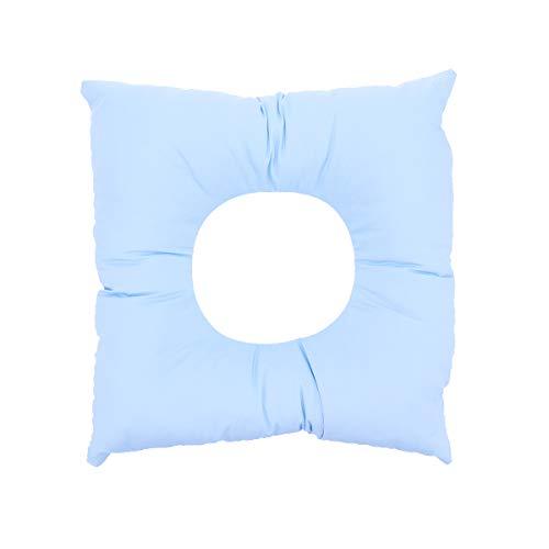Healifty Lochkissen Baumwolle Massage Kopfkissen Quadrat Form Gesicht Entspannen Kissen Kopfstütze Spa Kissen Pad für Frauen Salon Spa (Blau)