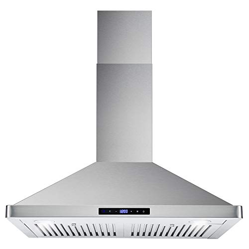 Cosmo 63175S 30 in. Wall Mount Range Hood with Ductless Convertible Duct (additional filters needed, not included), Ceiling Chimney-Style Stove Vent, LEDs Light, Permanent Filter, 3 Speed Fan, in Stainless Steel