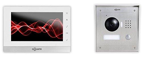 GOLIATH IP Video Türsprechanlage, Aufputz Türstation, Edelstahl, HD Kamera, App mit Türöffner Funktion, 1.3 Megapixel, Video-Speicher, 1 Familienhaus Set, AV-VTC05