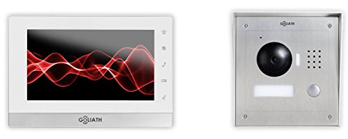 Goliath AV-VTC05 IP video deurintercomsysteem, opbouw, deurstation, roestvrij staal, HD-camera, app met deuropener-functie, 1,3 megapixel, videogeheugen, 1 familiehuis-set