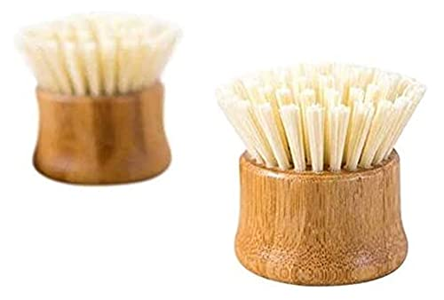 JJZXPJ Cleaner Brush Portable Pot Washing Bamboo Handle Round Head Dishwashing Cleaning Hand Holding Household Artifact Iron Non-Stick Pan Decontamination (Color : Log Color)