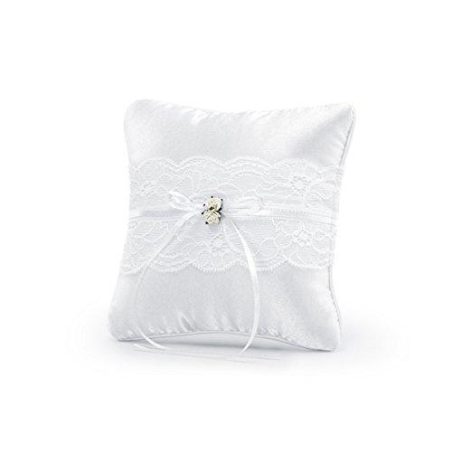 Simplydeko Ringkissen zur Hochzeit   Trauringkissen in Weiß   Vintage oder Ivory   Weiß